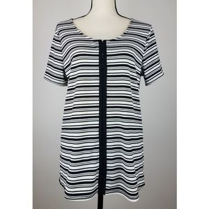 Eloquii Womens Blouse Top 22/24 Striped Scoop 1/2